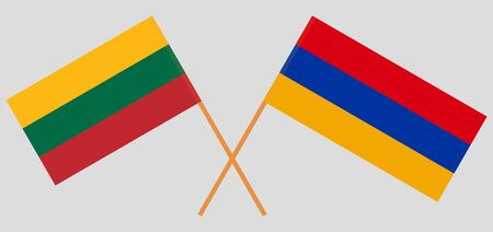 Armenia and Lithuania. Crossed Armenian and Lithuanian flags. Official colors. Correct proportion. Vector illustration