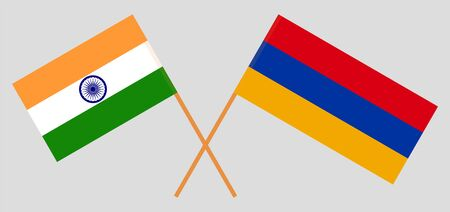 Armenia and India. Armenian and Indian flags. Official colors. Correct proportion. Vector illustration