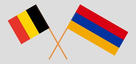 Armenia and Belgium. Armenian and  Belgian flags. Official colors. Correct proportion. Vector illustration