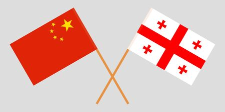 Georgia and China. Crossed Georgian and Chinese flags. Official colors. Correct proportion. Vector illustration