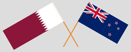 New Zealand and Qatar. Crossed New Zealands and Qatari flags. Official colors. Correct proportion. Vector illustration