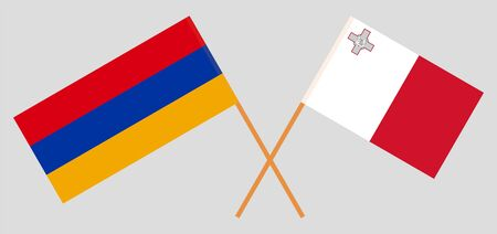 Armenia and Malta. Crossed Armenian and Maltese flags. Official colors. Correct proportion. Vector illustration