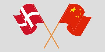 Crossed and waving flags of Denmark and China. Vector illustration Ilustracja