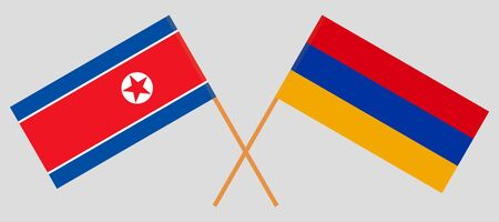 Armenia and North Korea. Armenian and Korean flags. Official colors. Correct proportion. Vector illustration  Illustration