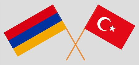Armenia and Turkey. Armenian and Turkish flags. Official colors. Correct proportion. Vector illustration