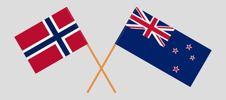 New Zealand and Norway. Crossed New Zealands and Norwegian flags. Official colors. Correct proportion. Vector illustration  イラスト・ベクター素材