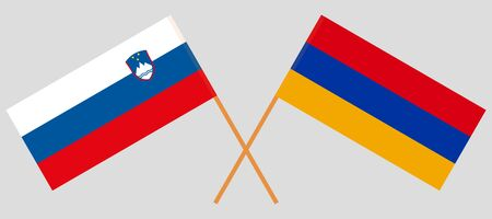 Armenia and Slovenia. Crossed Armenian and Slovenian flags. Official colors. Correct proportion. Vector illustration