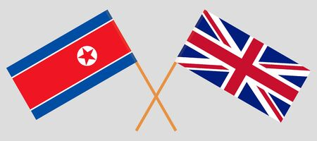 The UK and North Korea. Crossed British and Korean flags. Official colors. Correct proportion. Vector illustration
