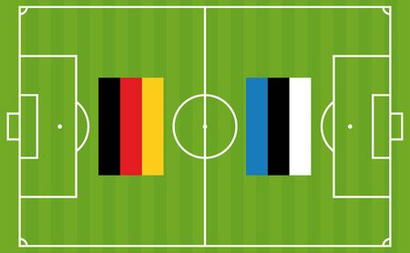 An illustration for football tournament between Germany and Estonia. The national flags over football pitch Иллюстрация