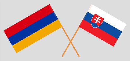 Armenia and Slovakia. Crossed Armenian and Slovakian flags. Official colors. Correct proportion. Vector illustration Иллюстрация