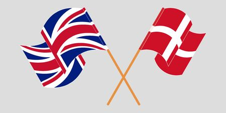 Crossed and waving flags of Denmark and UK. Vector illustration