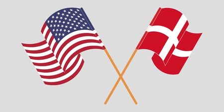 Crossed and waving flags of Denmark and USA. Vector illustration