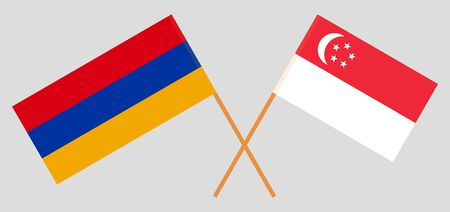 Armenia and Singapore. Crossed Armenian and Singaporean flags. Official colors. Correct proportion. Vector illustration