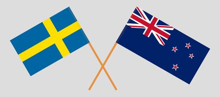 New Zealand and Sweden. Crossed New Zealands and Swedish flags. Official colors. Correct proportion. Vector illustration Иллюстрация