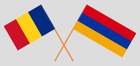 Armenia and Romania. Crossed Armenian and Romanian flags. Official colors. Correct proportion. Vector illustration