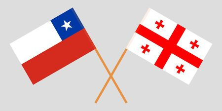 Georgia and Chile. Crossed Georgian and Chilean flags. Official colors. Correct proportion. Vector illustration