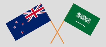 New Zealand and Kingdom of Saudi Arabia. Crossed New Zealands and KSA flags. Official colors. Correct proportion. Vector illustration