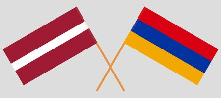 Armenia and Latvia. Crossed Armenian and Latvian flags. Official colors. Correct proportion. Vector illustration
