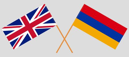 Armenia and the UK. Armenian and British flags. Official colors. Correct proportion. Vector illustration