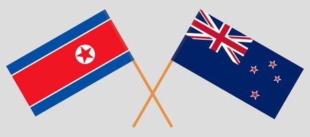 New Zealand and North Korea. Crossed New Zealands and Korean flags. Official colors. Correct proportion. Vector illustration