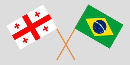 Georgia and Brazil. Crossed Georgian and Brazilian flags. Official colors. Correct proportion. Vector illustration