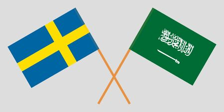 Sweden and the Kingdom of Saudi Arabia. Crossed Swedish and KSA flags. Official colors. Correct proportion. Vector illustration Иллюстрация
