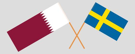 Sweden and Qatar. Crossed Swedish and Qatari flags. Official colors. Correct proportion. Vector illustration