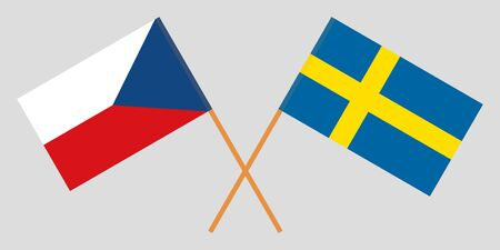 Sweden and Czech Republic. Crossed Swedish and Czech flags. Official colors. Correct proportion. Vector illustration