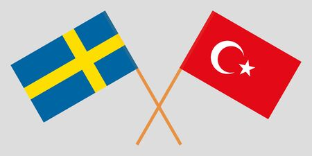 Sweden and Turkey. Crossed Swedish and Turkish flags. Official colors. Correct proportion. Vector illustration
