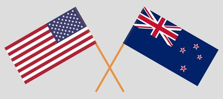 Crossed New Zealand and United States of America flags. Official colors. Correct proportion. Vector illustration