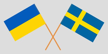 Sweden and Ukraine. Crossed Swedish and Ukrainian flags. Official colors. Correct proportion. Vector illustration Çizim
