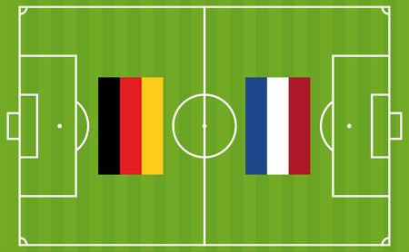 An illustration for football tournament between Germany and Netherlands. The national flags over football pitch