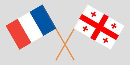 Georgia and France. Crossed Georgian and  French flags. Official colors. Correct proportion. Vector illustration