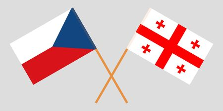 Georgia and Czech Republic. Crossed Georgian and Czech flags. Official colors. Correct proportion. Vector illustration