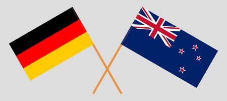 New Zealand and Germany. Crossed New Zealands and German flags. Official colors. Correct proportion. Vector illustration