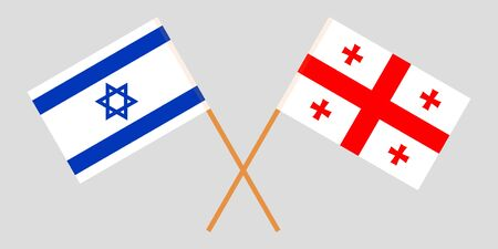Georgia and Israel. Crossed Georgian and Israeli flags. Official colors. Correct proportion. Vector illustration