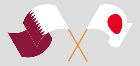Crossed and waving flags of Japan and Qatar. Vector illustration