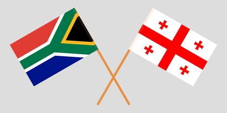 Georgia and the RSA. Crossed Georgian and South African flags. Official colors. Correct proportion. Vector illustration Иллюстрация