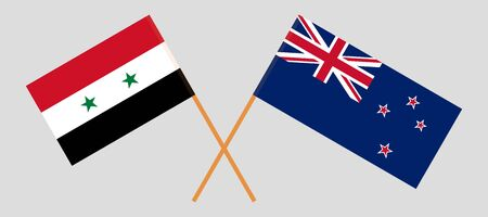 New Zealand and Syria. Crossed New Zealands and Syrian flags. Official colors. Correct proportion. Vector illustration