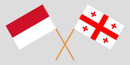 Georgia and Indonesia. Crossed Georgian and Indonesian flags. Official colors. Correct proportion. Vector illustration