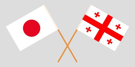 Georgia and Japan. Crossed Georgian and Japanese flags. Official colors. Correct proportion. Vector illustration Illustration
