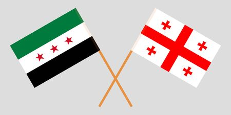 Georgia and Interim Government of Syria. Crossed Georgian and Coalition flags. Official colors. Correct proportion. Vector illustration