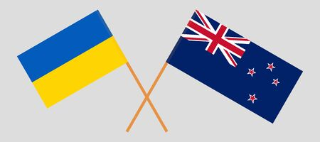 New Zealand and Ukraine. Crossed New Zealands and Ukrainian flags. Official colors. Correct proportion. Vector illustration Иллюстрация