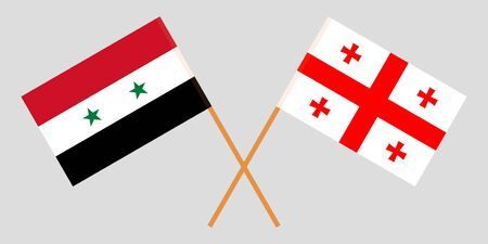 Georgia and Syria. Crossed Georgian and Syrian flags. Official colors. Correct proportion. Vector illustration