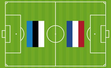 An illustration for football tournament between Estonia and Netherlands. The national flags over football pitch