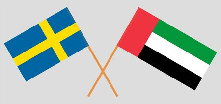Sweden and United Arab Emirates. Crossed Swedish and UAE flags. Official colors. Correct proportion. Vector illustration Illustration