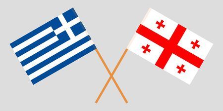 Georgia and Greece. Crossed Georgian and Greek flags. Official colors. Correct proportion. Vector illustration