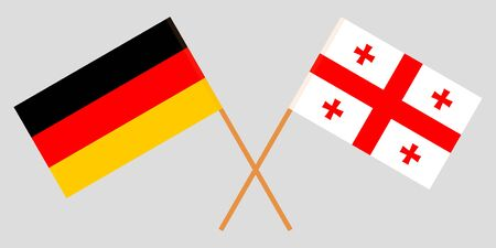 Georgia and Germany. Crossed Georgian and German flags. Official colors. Correct proportion. Vector illustration Иллюстрация
