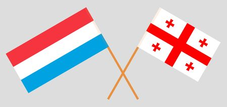 Georgia and Luxembourg. Crossed Georgian and Luxembourgish flags. Official colors. Correct proportion. Vector illustration