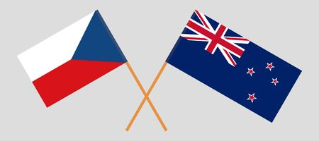 New Zealand and Czech Republic. Crossed New Zealands and Czech flags. Official colors. Correct proportion. Vector illustration